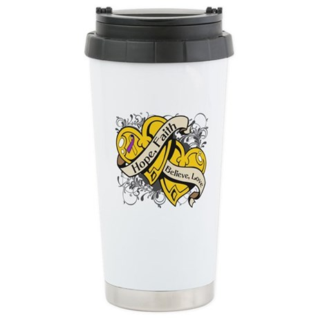 Bladder Cancer Hope Dual Heart Ceramic Travel Mug