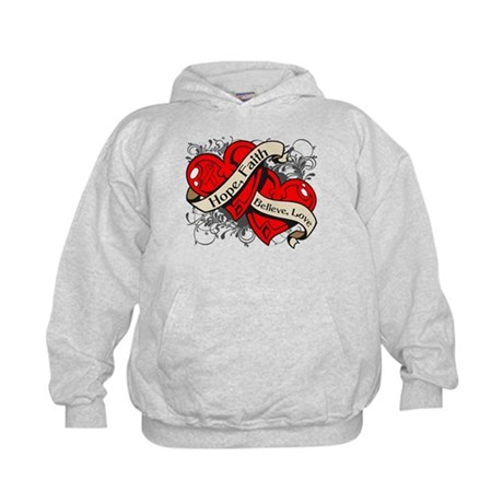 Blood Cancer Hope Dual Heart Kids Hoodie