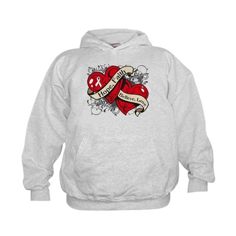Bone Cancer Hope Dual Heart Kids Hoodie