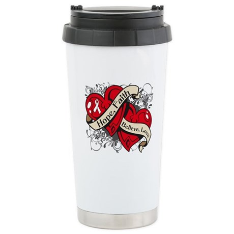 Bone Cancer Hope Dual Heart Ceramic Travel Mug