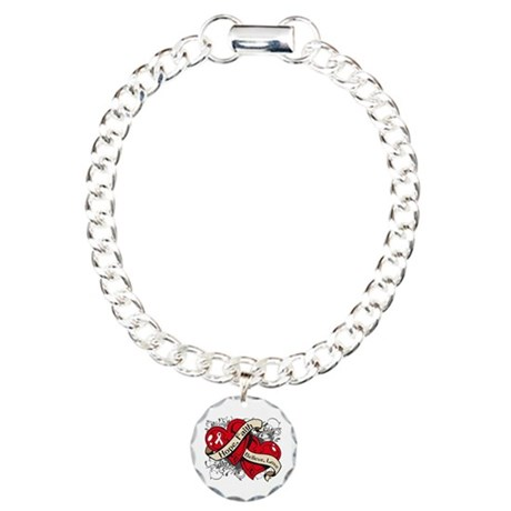 Bone Cancer Hope Dual Heart Charm Bracelet, One Ch