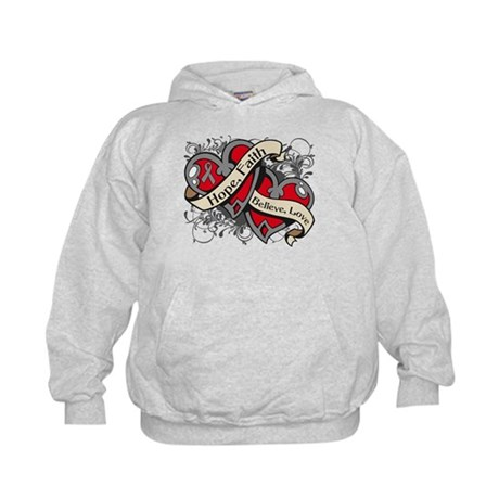 Brain Cancer Hope Dual Heart Kids Hoodie