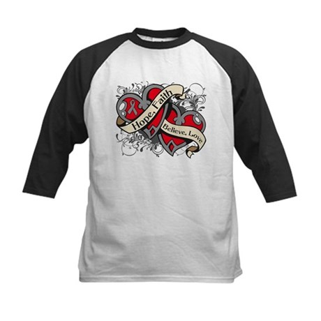 Brain Cancer Hope Dual Heart Kids Baseball Jersey