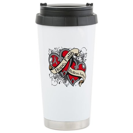 Brain Cancer Hope Dual Heart Ceramic Travel Mug