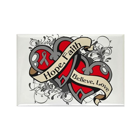 Brain Cancer Hope Dual Heart Rectangle Magnet