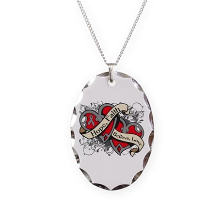 Brain Tumor Hope Dual Heart Necklace Oval Charm