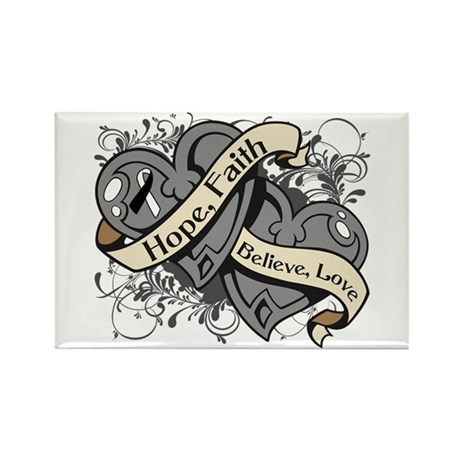 Carcinoid Cancer Hope Dual Heart Rectangle Magnet