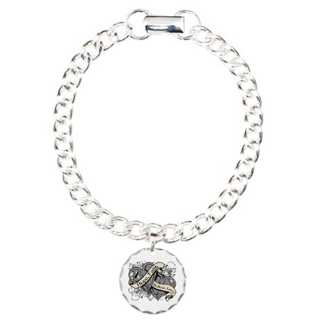 Carcinoid Cancer Hope Dual Heart Charm Bracelet, O