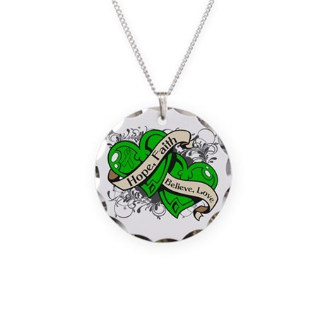 Cerebral Palsy Hope Dual Heart Necklace Circle Cha