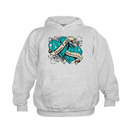 Cervical Cancer Hope Dual Heart Kids Hoodie