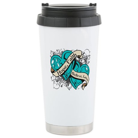 Cervical Cancer Hope Dual Heart Ceramic Travel Mug
