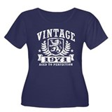 Vintage 1971 Women's Plus Size Scoop Neck Dark T-S