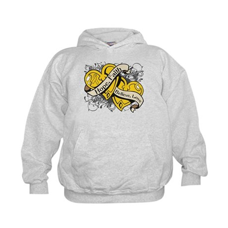 Childhood Cancer Hope Dual Heart Kids Hoodie