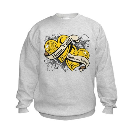Childhood Cancer Hope Dual Heart Kids Sweatshirt