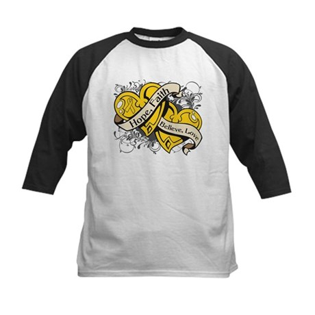 Childhood Cancer Hope Dual Heart Kids Baseball Jer