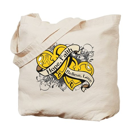 Childhood Cancer Hope Dual Heart Tote Bag
