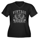 Vintage 1970 Women's Plus Size V-Neck Dark T-Shirt