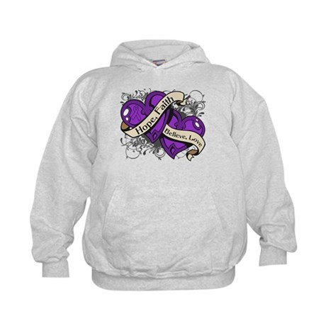 Crohns Disease Hope Dual Heart Kids Hoodie