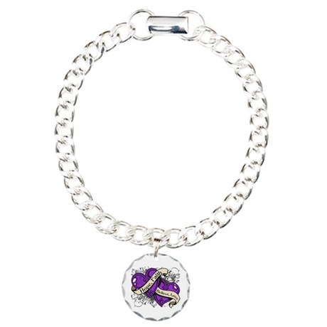 Crohns Disease Hope Dual Heart Charm Bracelet, One