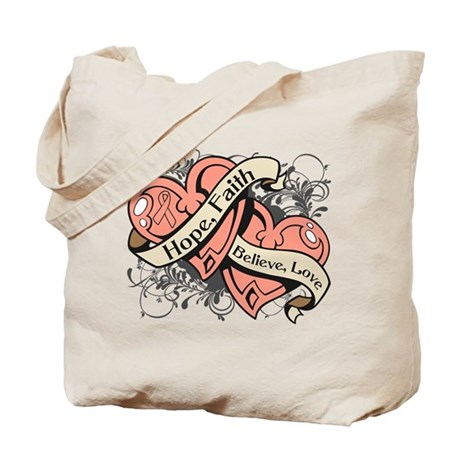 Endometrial Cancer Hope Dual Heart Tote Bag