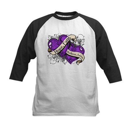 Epilepsy Hope Dual Heart Kids Baseball Jersey
