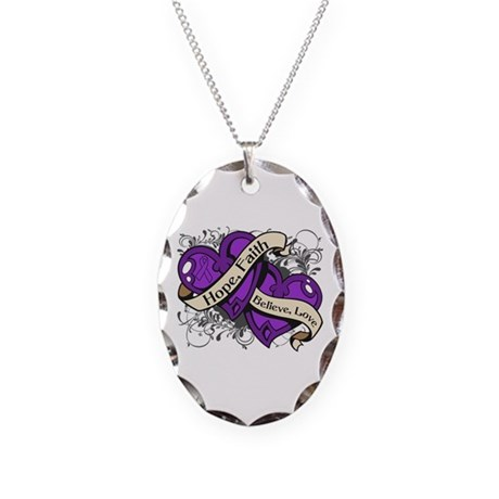 Epilepsy Hope Dual Heart Necklace Oval Charm