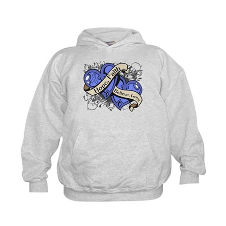 Esophageal Cancer Hope Dual Heart Kids Hoodie
