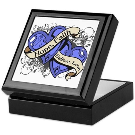 Esophageal Cancer Hope Dual Heart Keepsake Box