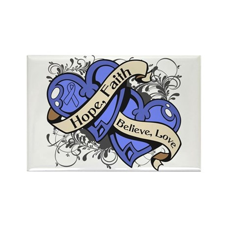 Esophageal Cancer Hope Dual Heart Rectangle Magnet