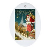 Santa Down the Chimney Oval Ornament