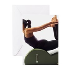 Woman using pilates step Greeting Cards (Pk of 10)