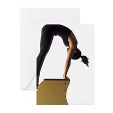 Woman using pilates chai Greeting Cards (Pk of 10)