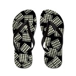 Flip Flops Black & White Herringbone Design