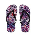 Flip Flops-Blue Red Floral Design