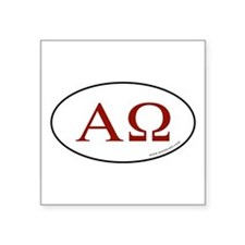 Alpha and Omega Sticker -Red Letter (Oval) Sticker