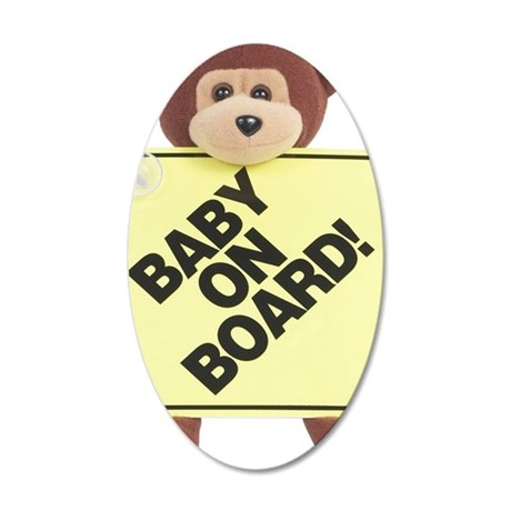 Monkey With Sign 35x21 Oval Wall Decal