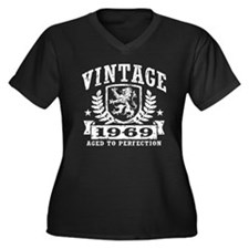 Vintage 1969 Women's Plus Size V-Neck Dark T-Shirt