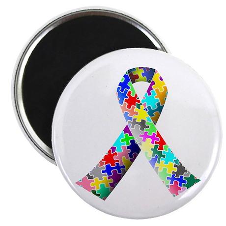 Autism Puzzle Ribbon Magnet - 100 Pack
