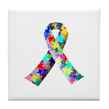 Autism Awareness Puzzle Ribbon Tile Coaster
