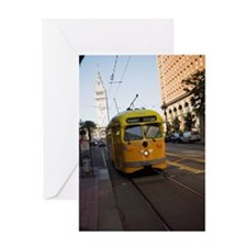 """Cable car in front of clock tower,  Greeting Card"