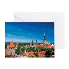 Aerial view of buildings in a city,  Greeting Card
