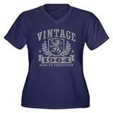 Vintage 1964 Women's Plus Size V-Neck Dark T-Shirt