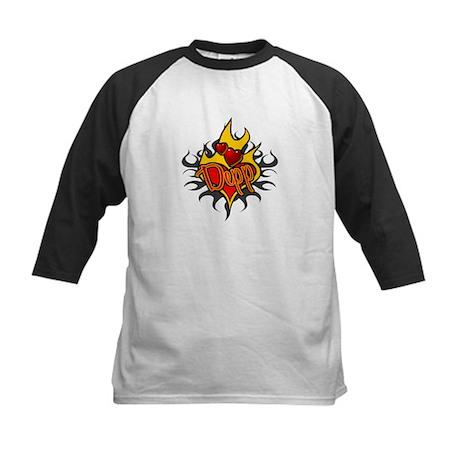 Depp Heart Flame Tattoo Kids Baseball Jersey