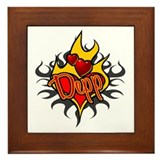 Depp Heart Flame Tattoo Framed Tile