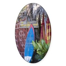 Surfboard against a tree Decal