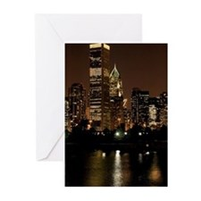 Buildings lit up at nigh Greeting Cards (Pk of 20)