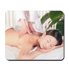 """Young woman receiving massage, Close-up, Mousepad"