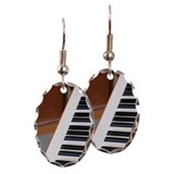 Piano keyboard, close-up Earring Oval Charm