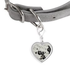 Ink Spill on Equations Small Heart Pet Tag