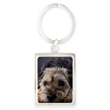 Disappointed Border Terrier Portrait Keychain